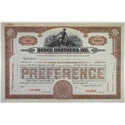 Dodge Brothers, Inc., ND (ca.1920's) Specimen Stock.
