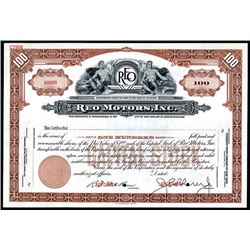 REO Motors, Inc., ND ca.1930-40's Specimen Stock Certificate.