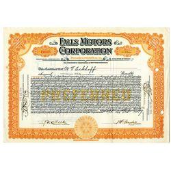 Falls Motors Corporation, 1919 I/U Stock Certificate.