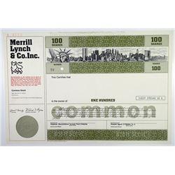 Merrill Lynch & Co. Inc. 1978 Specimen Stock Certificate