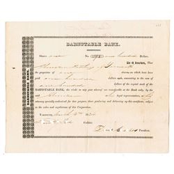 Barnstable Bank, 1834 Issued stock Certificate.