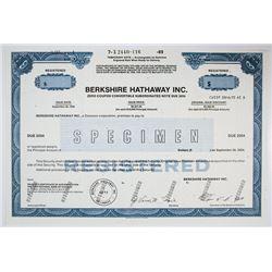 Berkshire Hathaway Inc., 1989 Specimen Zero Coupon Note Rarity