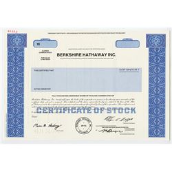 Berkshire Hathaway Inc. 1973 (1996) Specimen Stock Certificate with Warren Buffet Facsimile Signatur