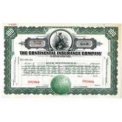 Continental Insurance Co. 1920-30's Specimen Stock Certificate