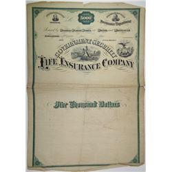 Government Security Life Insurance Co. 1870-80s Progress Specimen Bond