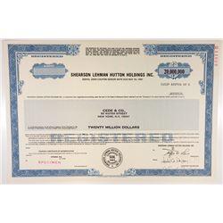 Shearson Lehman Hutton Holdings Inc., 1988, $20,000,000 Registered Specimen Bond