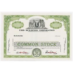Uris Buildings Co., 1960 Specimen Stock Certificate.