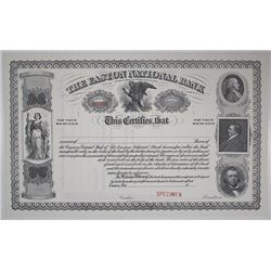 Easton National Bank ca.1900 Specimen Stock Certificate.