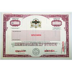 Pete's Brewing Co. 1990s Specimen Stock Certificate.