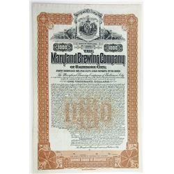 MD. Maryland Brewing Co. of Baltimore City. 1899 $1000 Gold Bond. VF