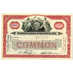 Warner Bros. Pictures, Inc. 1929 I/U Stock Certificate