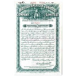 British-American Tobacco Co. Ltd. 1920 Specimen Fractional Stock Certificate.
