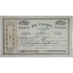 Pioneer Mill Co., Ltd., 1900 Stock Certificate