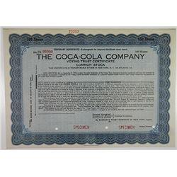 Coca-Cola Company, Voting Trust Certificate 1919 Specimen Temporary Certificate.