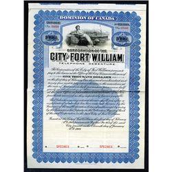 City of Fort William 1909 Specimen Bond.
