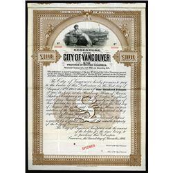 City of Vancouver, 1908 Specimen Bond