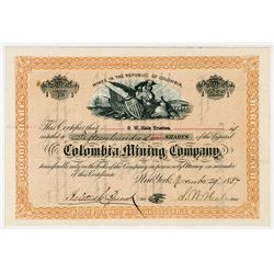 Colombia Mining Co., 1887  Stock Certificate
