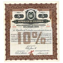 Republica de Colombia, 1919 Specimen Coupon Bond