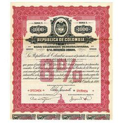 Republica de Colombia, 1928 Specimen Bond