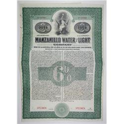 Manzanillo Water & Light Co., 1900-10 Specimen 6%  Coupon Bond, VF