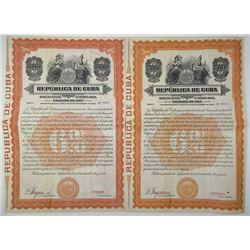 Republica de Cuba 1917 Specimen Bond Pair
