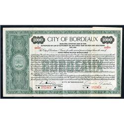 City of Bordeaux 1916 Specimen Bond