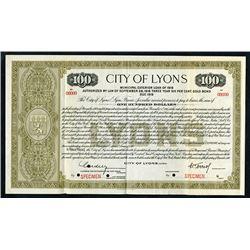 City of Lyons 1916 Specimen Bond