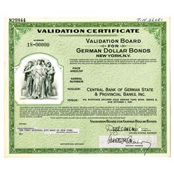 Validation Board for German Dollar Bonds - Central Bank of German State & Provincial Banks, Inc., ca