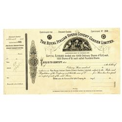 Royal Italian Opera Covent Garden LTD., ca.1882 Specimen Stock Certificate.