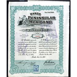 Banco Peninsular Mexicano Issued Bond. 1908.