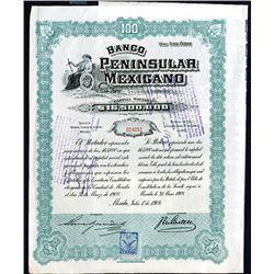 Banco Peninsular Mexicano Issued Bond. 1908.