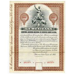 La Mexicana Compañía Anónima Nacional de Seguros Sobre La Vida, 1907 Specimen Bond