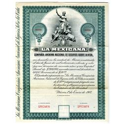 La Mexicana National Life Insurance Co. 1907 Specimen Bond