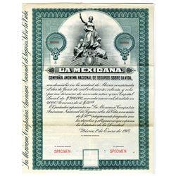 La Mexicana National Life Insurance Co. 1907 Specimen Bond