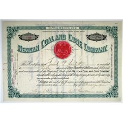 Mexican Coal and Coke Co., 1901 I/U stock Certificate.