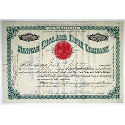 Mexican Coal and Coke Co., 1901 I/U stock Certificate.