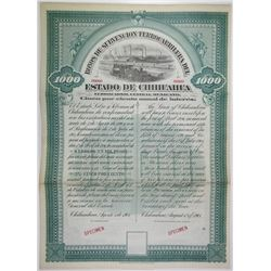 Bonos De Subvencion Ferro Carrilera Del Estado De Chihuahua, 1901 Specimen Bond Rarity.