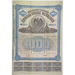 Estados Unidos Mexicanos Ferrocarril Central Mexicano, Linea De Tula A Pachuca Y Tampico 1892 Specim