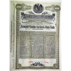 Estados Unidos Mexicanos Ferrocarril de la Estacion de San Marcos a la Barra de Nautla 1891 Specimen