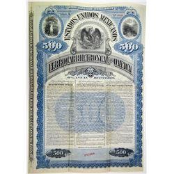 Estados Unidos Mexicanos Ferrocarril Troncal De Oaxaca 1892 Specimen Bond