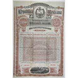 Ferrocarril Nacional De Tehuantepec, 1890 Specimen £100 Bond Rarity.