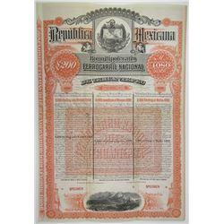 Ferrocarril Nacional De Tehuantepec, 1890 Specimen £200 Bond Rarity.