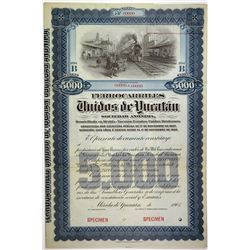 Ferrocarriles Unidos de Yucatan 1903 Specimen Share Certificate.