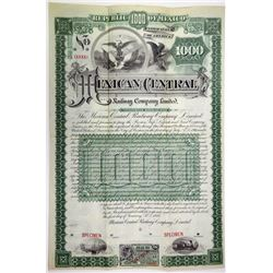 Mexican Central Railway Co. Ltd. 1889 Specimen Bond