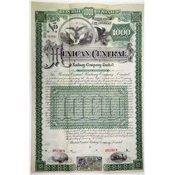 Mexican Central Railway Co. Ltd. 1889 Specimen Bond