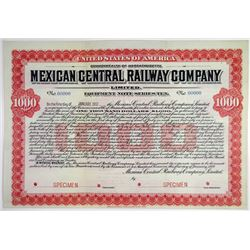 Mexican Central Railway Co. Ltd. 1907 Specimen Equipment Note Series Ten Bond