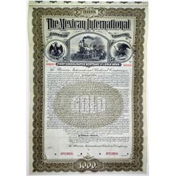 Mexican International Railroad Co. 1897 Specimen Bond.
