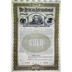 Mexican International Railroad Co. 1897 Specimen Bond.