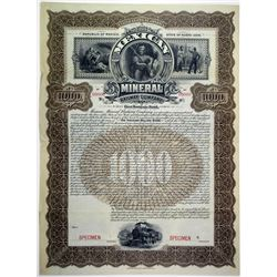 Mexican Mineral Railway Co. 1899 Specimen Bond