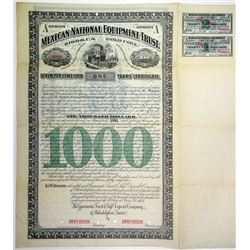 "Mexican National Equipment Trust 1883 ""Series A - One Years' Certificate""  Specimen Bond"